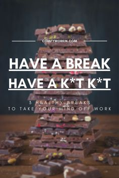 If you feel stressed, overwhelmed and often end your working day completely drained, chances are that you are not managing your breaks correctly. Taking small breaks between 2 tasks can help you take your mind off your work during a stressful day. This post will provide you with 3 ways to improve your overall working rhythm. Giving work from home tips, activities to do at home to relief your stress and ways to switch off from work for few minutes to re energize your body and mind. wfhtips… Things To Do At Home, Work From Home Tips, Focus On Yourself, Improve Yourself, Focus At Work, Off Work, Good Notes, Time Management Tips, Work Life Balance