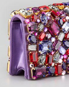 Prada Jeweled Satin Clutch Bag, Purple - Neiman Marcus