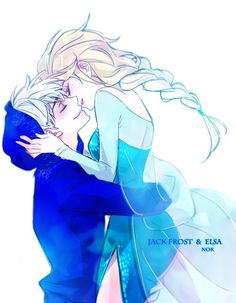 Jack Frost and Elsa anime