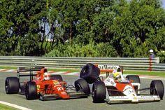 Nigel Mansell (Ferrari) vs Ayrton Senna (McLaren). Estoril, GP de Portugal de F-1, 1989