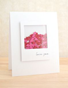 Love You by Amy Wanford - gorgeous shaker card, love all that white with the bright hearts!