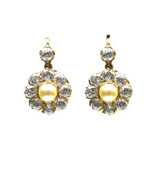 Old European Diamond and Freshwater Pearl Flower Earrings #jbirnbach