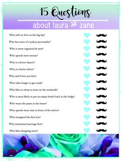 Bridal Shower Game-15 Questions-Download   Bride and Groom Trivia by 31Flavorsofdesign on Etsy