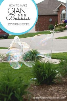 How to Make Giant Bubbles -- this DIY bubble recipe will be one of your favorite things to do outside this summer! Outdoor Party Games, Outdoor Activities For Kids, Fun Activities, Toddler Activities, Steam Activities, Toddler Learning, Outdoor Play, Summer Crafts For Kids, Summer Diy