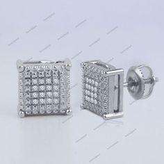 New Mens Ladies Square Shaped 0.08 Carat Natural Diamond Ear Stud Earrings #bacio2jewel #StudEarrings