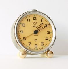 Mechanical alarm clock Mir(PEACE) from Russia Soviet Union The measures are / height x / diameter. Vintage Alarm Clocks, Antique Clocks, Old Watches, So Little Time, Crowns, Keys, Russia, Collections, Google