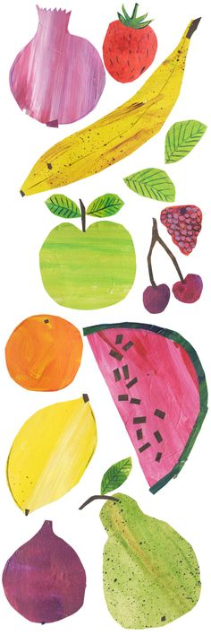 36 Ideas fruit illustration drawing style for 2019 Fruit Illustration, Food Illustrations, Pinterest Instagram, Fruit And Veg, Kids Fruit, Collage, Fruit Print, Natural Forms, Art Plastique