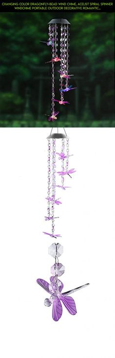 Changing Color Dragonfly+Bead Wind Chime, AceList Spiral Spinner Windchime Portable Outdoor Decorative Romantic Windbell Light for Patio, Deck, Yard, Garden, Home, Pathway #technology #tech #kit #drone #plans #racing #gadgets #decor #fpv #camera #parts #shopping #outdoor #dragonfly #products