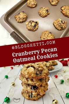 Cranberry Pecan Oatmeal Cookies are jammed pack with flavor, soft, and chewy.