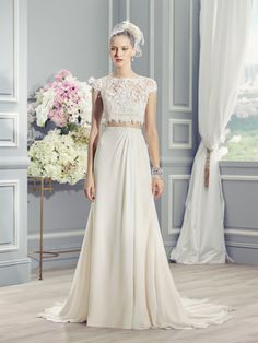 Moonlight Style J6361 Boho-chic, two piece wedding dress. French lace crop-top, chiffon skirt and keyhole back.