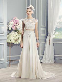 Moonlight Style J6361 Boho-chic, two piece wedding dress. French lace crop-top, chiffon skirt and keyhole back.
