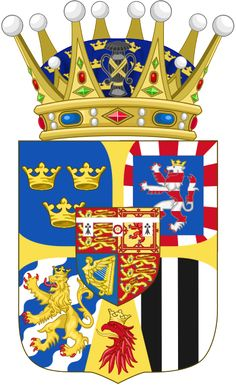 Coat of arms (as Swedish Crown Princess) for Lady Louise Mountbatten (descended from Princess Alice, Victoria's second daughter).
