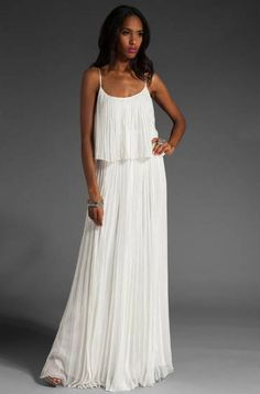 pleated white chiffon maxi dress | Home Dresses Maxi Dresses Elegant Fashion Chiffon Pleated Long Tee ...