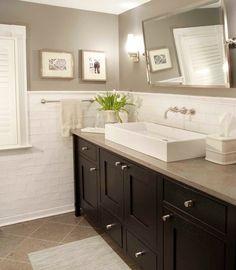 transitional bathroom : wall color : mirror : sink : subway tile : floor tile laid on diagonal