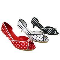 Polka dot peeptoe kitten heels: I am in love