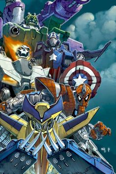 Superhero Transformers illustration series by Lou Kang.   When is Michael Bay making this movie?