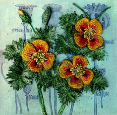 3D - Botanical - embroidery - textile art - 'Horned Poppy' - assemblage - Corinne Young - www.corinneyoungtextiles.co.uk