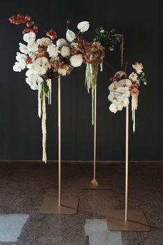 Modern Floral Arrangements, Flower Arrangements, Floral Wedding, Fall Wedding, Wedding Reception, Contemporary Wedding Flowers, Floral Style, Floral Design, Flower Installation