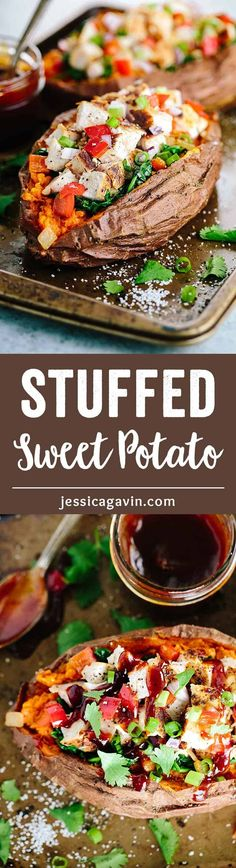 Stuffed Sweet Potato Recipe with Barbecue Chicken - Loaded with fresh kale, spinach, peppers and lean chicken for a simple and satisfying meal!