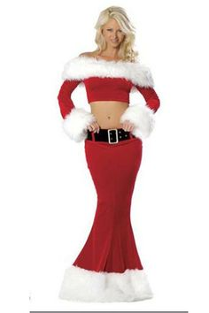 Sexy Christmas Costume 2 Piece Santa Clause Fur Trim Off The Shoulder Top And Mermaid Skirt Outfits Halloween Dress, Halloween Outfits, Sailor Halloween, Chucky Halloween, Halloween Costumes, Pirate Halloween, Party Costumes, Girl Halloween, Vintage Chanel