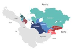 political map of the caucasus and central asia