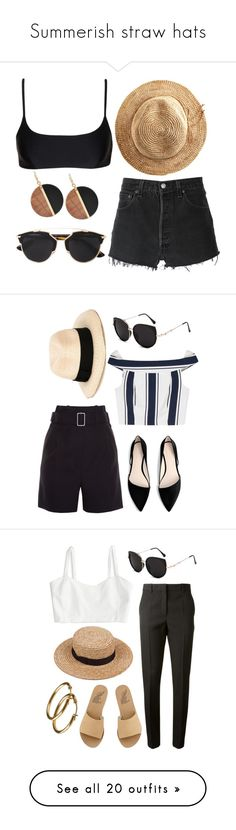 """""""Summerish straw hats"""" by redapplecigarettes ❤ liked on Polyvore featuring Matteau, RE/DONE, Michael Kors, Hat Attack, Christian Dior, Balenciaga, Eugenia Kim, MANGO, Finders Keepers and airportstyle"""