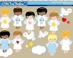 Angel Digital Clipart gráfico Ángel chica Ángel por Cutesiness