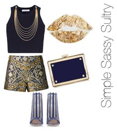 """Goldie"" by simplesassysultry on Polyvore featuring Alice + Olivia, Elizabeth and James, Konstantina Tzovolou, Valentino and White House Black Market"