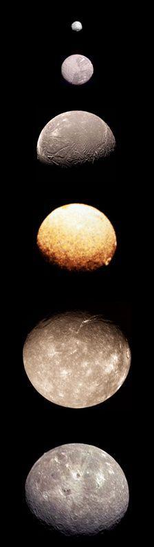Moons of Uranus. From top: Puck, Miranda, Ariel, Umbriel, Titania and Oberon. At last count, Uranus has 27 moons.