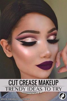 Cut crease makeup is a kind of smokey eye makeup, which has been many women's best friend for a long time already. The difference is that cut crease makeup is more contrasting. Eye Makeup Tips, Makeup Goals, Makeup Inspo, Makeup Inspiration, Beauty Makeup, Makeup Ideas, Fun Makeup, Makeup List, Flawless Makeup