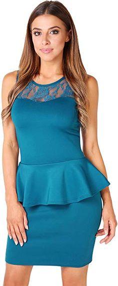 KRISP Lace Neck Bodycon Peplum Dress (Teal, 10), [U3127-TEA-14] at Amazon Women's Clothing store: Miss Louisiana, Peplum Dress, Bodycon Dress, Thing 1, No Frills, Night Out, Teal, Plus Size, Amazon