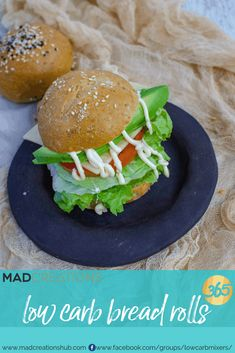 Mad Creations Low Carb Bread Rolls/ Burger Buns are seriously like the real thing and only net carbs per bun. Lowest Carb Bread Recipe, Low Carb Bread, Keto Bread, Sugar Free Recipes, Almond Recipes, Low Carb Recipes, Keto Burger, Burger Buns, Low Carb Bun