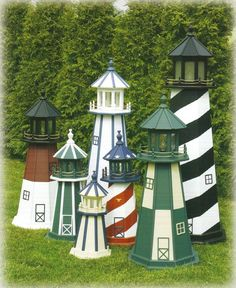 Lighthouses are handcrafted from one half-inch signboard plywood, painted with an exterior paint and are built to endure all types of weather conditions.