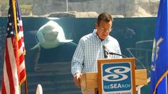 Juno the beluga stole the show at a press event with Connecticut Gov. Dannel Malloy.  The governor visited Mystic Aquarium to discuss travel in Connecticut ahead of Labor Day Weekend. As the governor speaks, Juno appears behind him, swimming up to the governor & hovering over his shoulder. At one point, the beloved beluga presses his forehead to the glass, seeming to know he has an audience. (Click on picture for video.)