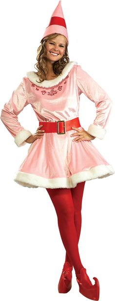 Jovi Deluxe Adult Costume Now you can be the apple of Buddy's eye! This Jovi Deluxe Adult Costume includes a pink velvet dress with white plush trim, a red Elf Movie, Girl Costumes, Adult Costumes, Costumes For Women, Costume Ideas, Couple Costumes, Family Costumes, Buddy The Elf Costume, Papa Noel
