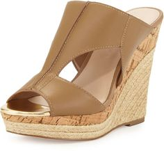Charles by Charles David Abacus Cutout Leather Wedge Sandal, Nude