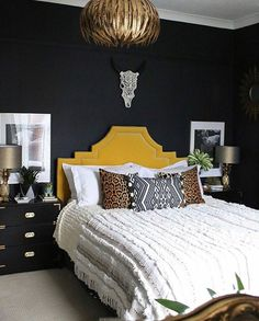 How to Mix High End and Low End in Your Home - Swoon Worthy - boho glam bedroom with yellow headboard and black walls - Girls Bedroom, Glam Bedroom, Home Bedroom, Modern Bedroom, Bedroom Decor, Bedroom Ideas, Master Bedroom, Yellow Bedroom Furniture, Bedroom 2018