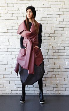 Asymmetric Burgundy Vest/Sleeveless Leather Coat/Extravagant Tunic Top/Loose Dark Red Leather Vest/Large Collar Leather Tunic/Wine Long Top