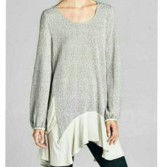 💕NEW CONTRAST SWEATER TUNIC💕 Two-tone sweater tunic top featuring contrast fabric around asymmetrical hemline and side pockets. Light gray. Long sleeves.  Unlined. Non-sheer. Lightweight. PRICE IS FINAL PLEASE COMMENT SIZE 4 Bidden Bouitque Sweaters