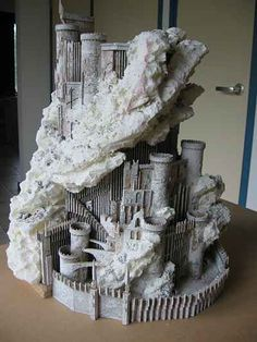 LOTR Scenery building: Hobbiton, Orthanc, etc. Lotr, Mines Of Moria, Barad Dur, Structure Paint, Clay Fairy House, Ring Game, Game Terrain, Clay Fairies, Wargaming Terrain