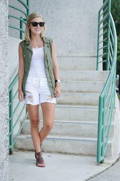 White tank + white shorts + utility vest + brown sandals