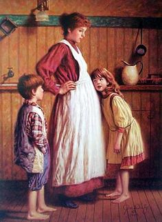 Jim Daly: Children listening to baby in mama's tummy Illustrations Vintage, Illustration Art, Art Ancien, Norman Rockwell, Fine Art, Mother And Child, American Artists, Beautiful Paintings, Art History