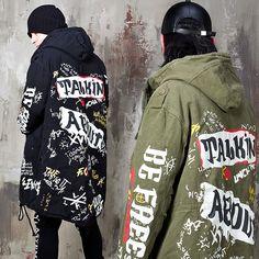 Mutiple scribble lettering field jacket