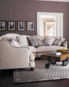 """Shop """"Keytone"""" Linen Sectional from Haute House at Horchow, where you'll find new lower shipping on hundreds of home furnishings and gifts. My Living Room, Home And Living, Living Room Furniture, Home Furniture, Living Room Decor, Living Spaces, Furniture Movers, Plywood Furniture, Painted Furniture"""