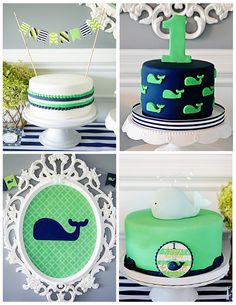 A Preppy Whale 1st Birthday Party Cakes