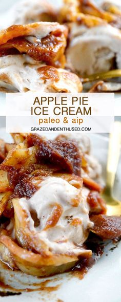 This Dairy-Free Apple Pie Ice Cream is made with coconut milk, coconut butter and sweet potato for extra creaminess without any of the cream! It is Paleo, AIP, Vegan and so, so delicious! Apple Pie Ice Cream, Paleo Ice Cream, Ice Cream Pies, Ice Cream Recipes, Oreo Dessert, Paleo Dairy, Dairy Free, Gluten Free, Raffaello Dessert