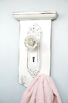 Another adorable door knob towel rack idea!!!