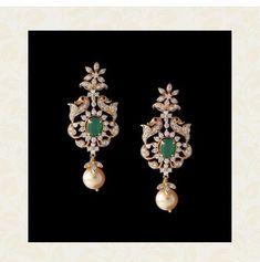 Diamond Earrings Indian, Gold Jhumka Earrings, Jewelry Design Earrings, Gold Earrings Designs, Gold Jewellery Design, Gold Jewelry Simple, Jewelry Model, Bangle, Wedding