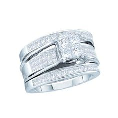 Save $3,030.00 on 2 Carat Princess Invisible Diamond 14k White Gold 3-Piece Bridal Set Ring; only $2,800.00