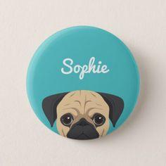 Pug Dog Portrait illustration Pinback Button - accessories accessory gift idea stylish unique custom